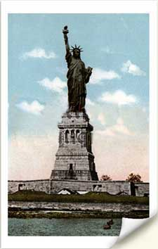 statue of liberty fabric postcards