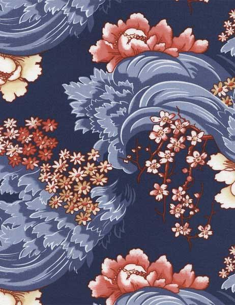 Art Nouveau Floral Wave Navy Cityquilter Com